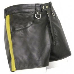 Mens Hot Yellow Strip Real Sheepskin Black Leather Shorts