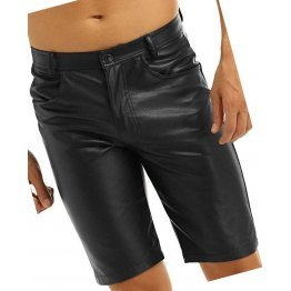 Mens  Knee Length Real Sheepskin Black Leather Shorts