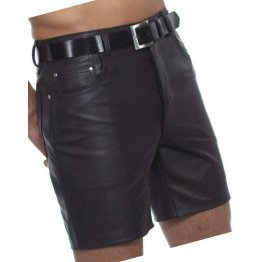 Mens Knee Length Slim Fitted Real Sheepskin Black Leather Shorts