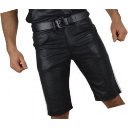Mens Knee long White Strips Real Sheepskin Black Leather Shorts