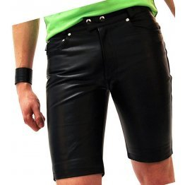 Mens New Fashion Real Sheepskin Black Leather Shorts