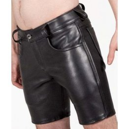 Mens Pride Walk Real Sheepskin Black Leather Shorts