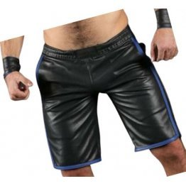 Mens Real Lamb Black Leather Basketball Shorts With Blue Strips