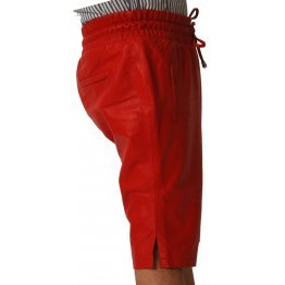 Mens Relaxed Fit Real Sheepskin Red Leather Shorts