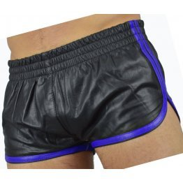 Mens Sports Blue Strips Real Sheepskin Black Leather Shorts