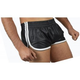 Mens Sports White Strips Real Sheepskin Black Leather Shorts