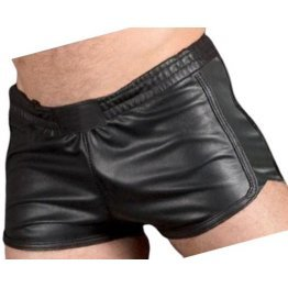 Mens Sports Gym Real Sheepskin Black Leather Shorts