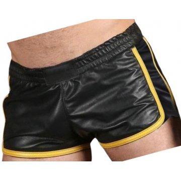 Mens Sports Gym Real Sheepskin Black Leather Yellow Strips Shorts