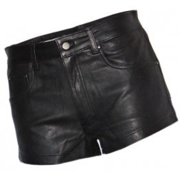 Mens street walk Real Sheepskin Black Leather Shorts