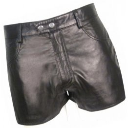 Mens Street Wear Real Sheepskin Black Leather Shorts