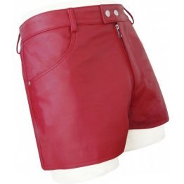 Mens Street Wear Real Sheepskin Red Leather Shorts