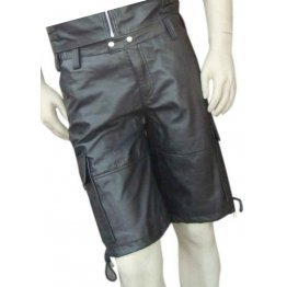 Mens Stylish Real Sheepskin Black Leather Cargo Shorts
