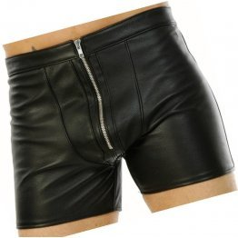 Mens Stylish Real Sheepskin Black Leather Shorts
