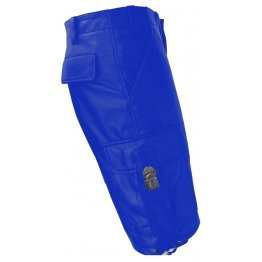 Mens Stylish Real Sheepskin Blue Leather Cargo Shorts