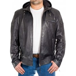 Men's Quilted Shoulder Style Black Leather Hooded Jacket