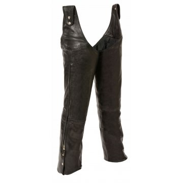Mens Beltless Adjustable Side Snap Black Leather Chaps