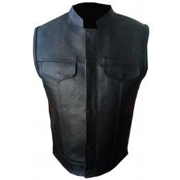 Mens Black Real Genuine Leather Motorcycle Biker Vest