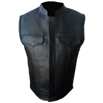 Mens Black Real Genuine Leather Motorcycle Biker Vest