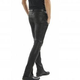 Mens Casual Genuine Soft Real Black Leather Trouser Pant