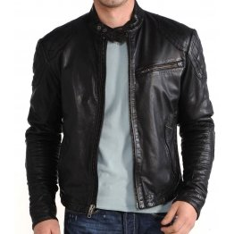 Mens Classic Black Biker Moto Leather Jacket Coat