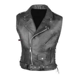 Mens Classic Black Leather Motorcycle Biker Vest