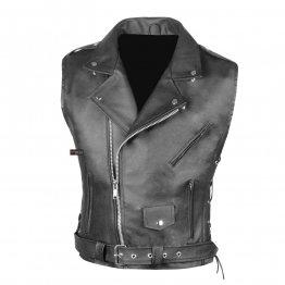 Mens Classic Black Leather Motorcycle Biker Vest