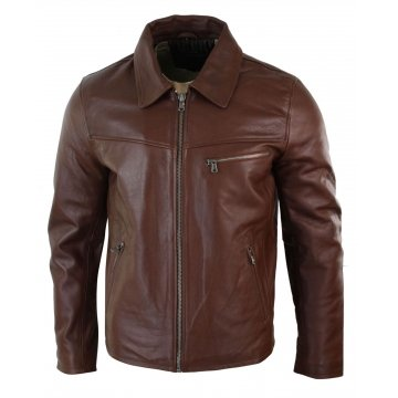 Mens Classic Soft Hide Zipped Brown Real Leather Jacket