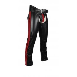 Mens Cowhide Red Color Stripes Leather Bikers Chaps