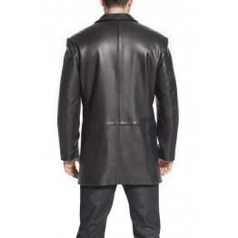 Mens Custom Soft Genuine Black Leather Blazer Trench Coat