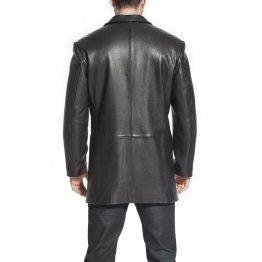 Mens Custom Soft Genuine Black Leather Blazer Trench Coat