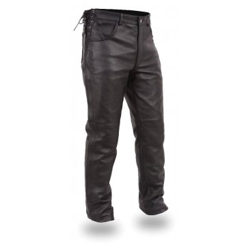 Mens Deep Pocket Black Leather Overpants Chaps