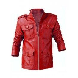 Genuine Lambskin Red Leather Biker Motorcycle Jacket for Men