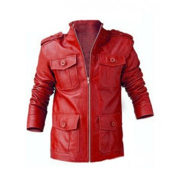 Genuine Lambskin Red Leather Biker Motorcycle Jacket for Men