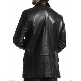 Mens Long Real Black Leather Blazer Coat