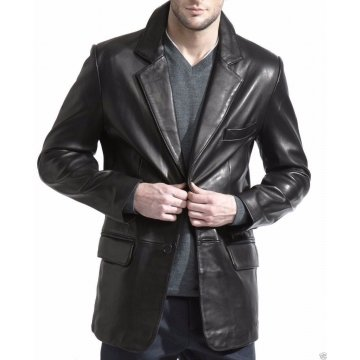Mens Long Real Black Leather Blazer Coat
