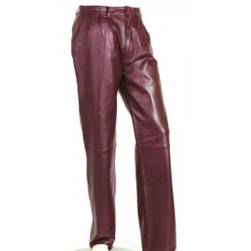 Mens Pleat Front Genuine Burgundy Leather Dress Pants
