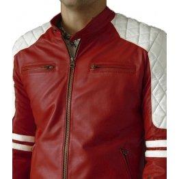 Mens Quilted Shoulder Red Leather Biker Motorcycle Jacket