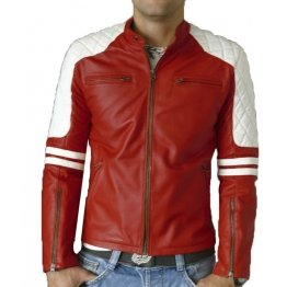 Mens Quilted Shoulder Red Leather Biker Motorcycle Jacket