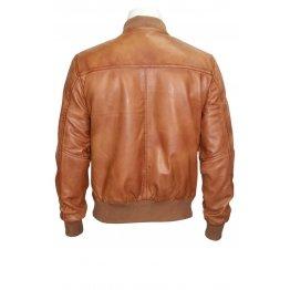 Mens Retro Classic Stylish Rock Tan Leather Bomber Jacket