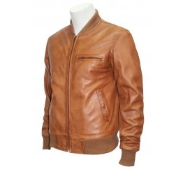 Mens Retro Classic Stylish Rock Tan Leather Bomber Jacket