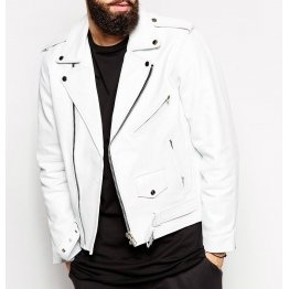 Mens Slim Fit White Leather Moto Jacket