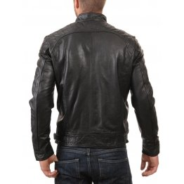 Mens Slim Fit Real lambskin Black Leather Jacket
