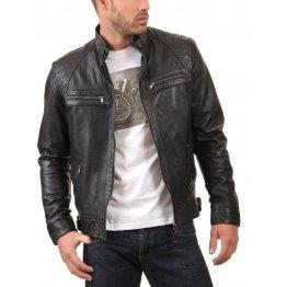 Mens Slim fit Real lambskin Black Leather Jacket