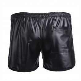 Mens Wetlook Black Leather Short Pants with Pocket