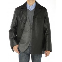 Mens Three Button Black Lambskin Leather Overcoat Blazer Jacket