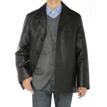 Mens Three Button Black Lambskin Leather Overcoat Blazer Jacket