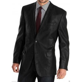 Mens Two Button Blazer Style Black Leather Jacket