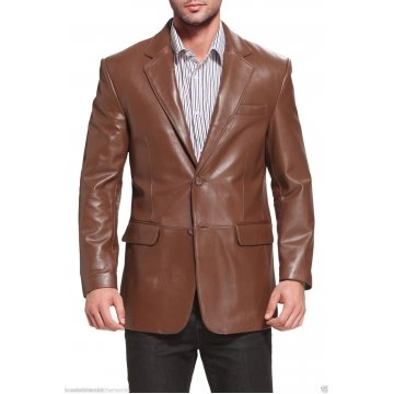 Mens Branded Genuine Lambskin Brown Leather Blazer Jacket