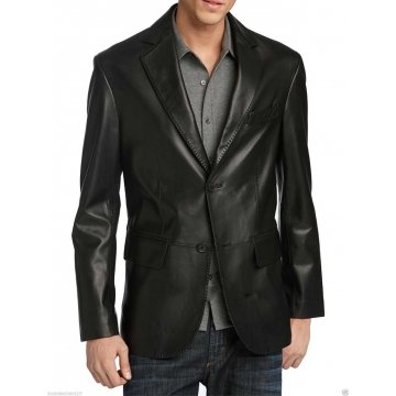 Mens Button Closure Genuine Black Leather Blazer Jacket