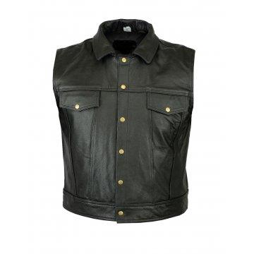 Mens Casual Motorbike Black Leather Waistcoat Vest